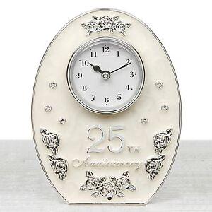 Image Is Loading Jewel Rose 25th Silver Wedding Anniversary Clock 16cm