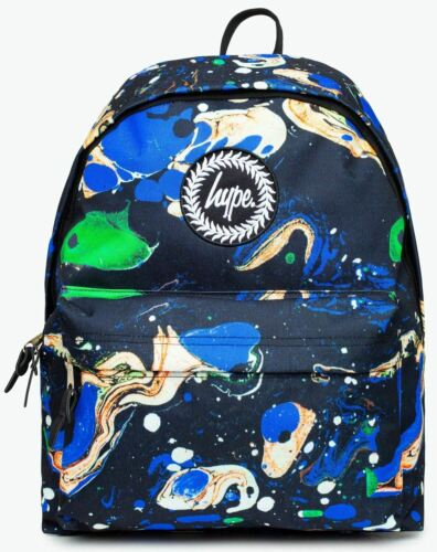 Hype Blue Marble Multi Unisex Nylon Shoulder Bag Backpack
