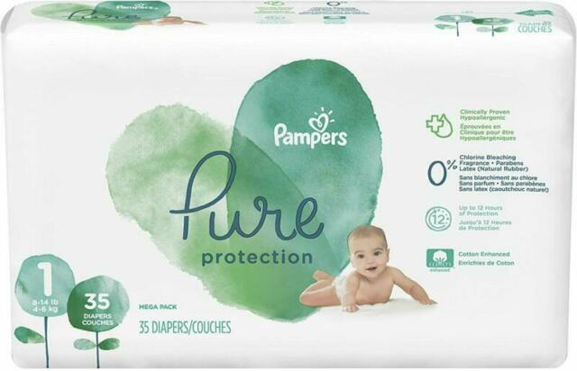 8-14 lb Diapers Newborn // Size 1 Pampers Pure Disposable Baby 74 Count
