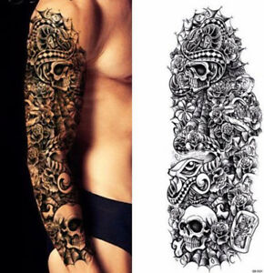 Temporary Tattoo Full Arm Sleeve Black Skulls Snake Roses Bones