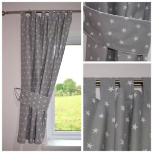 Captivating Image Is Loading STARS GREY Curtains Nursery Baby Room TAB TOP