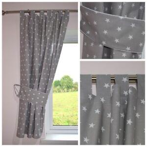 Stars Grey Curtains Nursery Baby Room Tab Top Curtains