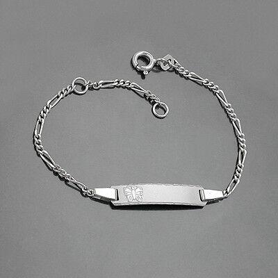 Baby Taufe Schmetterling Ident Figaro- Armband Gravur Name Datum Echt Silber 925 Bequem Und Einfach Zu Tragen