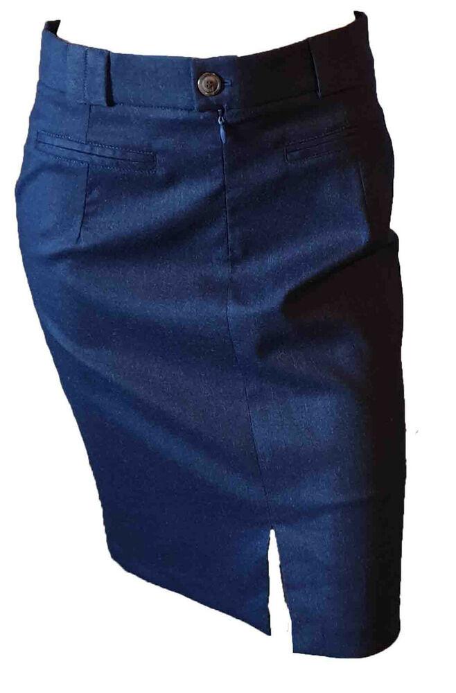 Jupe Court Fente Avant Poches Casual Laine Femme Bleu Foncé Achilea Taille 42