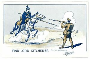 Antique-WW1-printed-postcard-Find-Lord-Kitchener-artist-signed-A-E-Horne