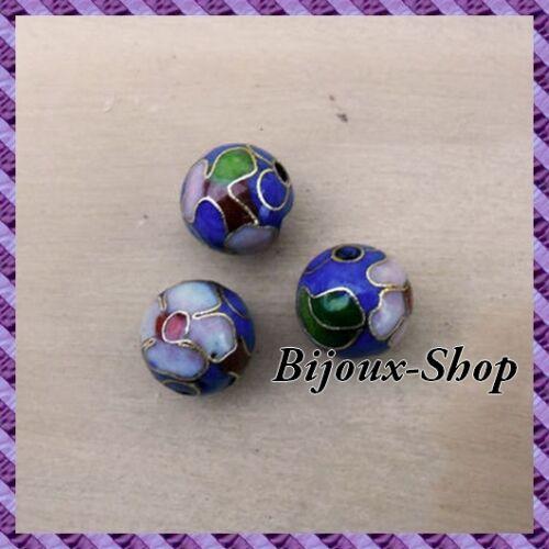 peinte a la main 10mm bleu 25 Perles métal
