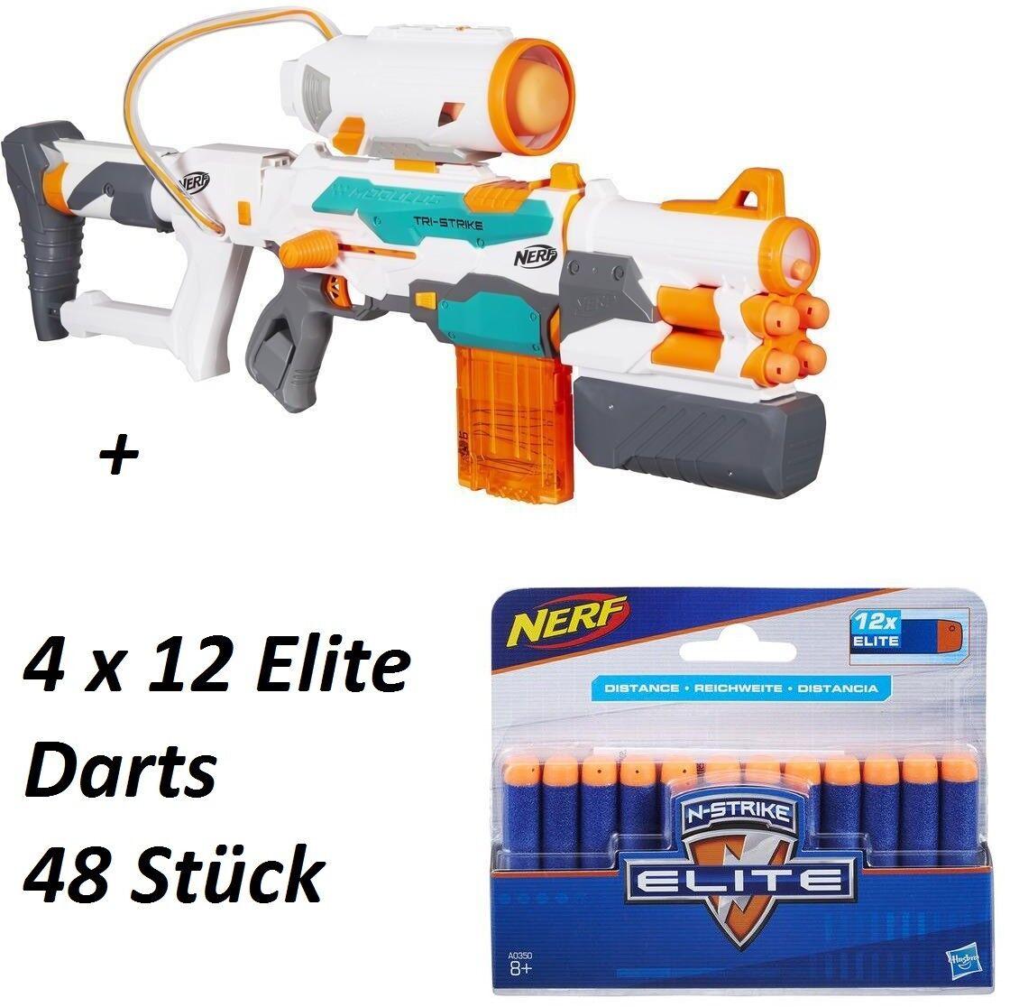 Nerf N-Strike Módulo Tri-Strike Blaster, Gun   Nuevo Ovp + 48 Elite Dardos