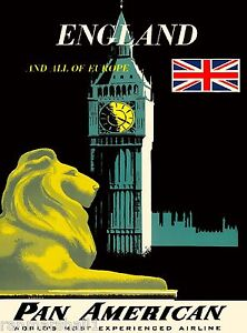 England English Europe European Britain Vintage Travel Advertisement Art Poster