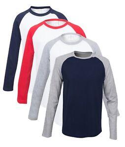 Coton-Uni-Enfants-Garcon-Fille-Manches-Longues-Baseball-Contraste-T-Shirt