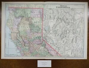 Vintage-1900-NORTHERN-CALIFORNIA-Map-22-034-x14-034-Old-Antique-Original-REDDING-USA