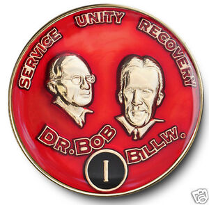 YRS 1-40 Dr. Bob & Bill W. AA Anniversary Recovery Coin/Medallion Red/Black/Gold