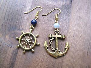 * Ancla Entrelazada Con Cuerda Náutica pendientes Sp Rockabilly Sailor Jerry Nuevo