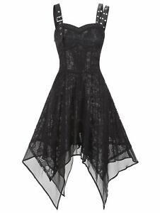 Details about Gothic Women Dress Steampunk Lace Up Punk Corset Midi Retro  Medieval Plus Size