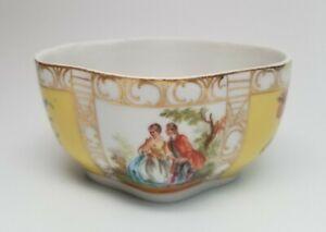 Antique-Carl-Thieme-Dresden-Porcelain-Quatrefoil-BOWL-Watteau-Courting-Couple