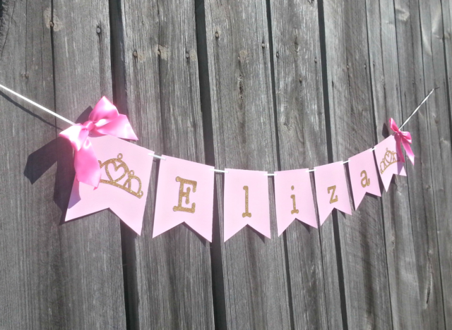 Fairy Princess Pink Burlap Personalised Baby Shower Bunting Party Banner