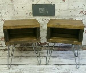 Image Is Loading X2 Rustic Retro Vintage Solid Wood Bedside Tables