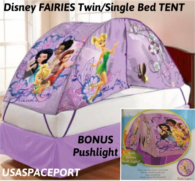 Kids Disney Fairies Tinkerbell Bed Tent Push Night Light Set Twin Single Pixies