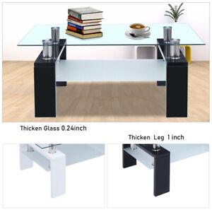 New 2 Tier Rectangular Coffee Table Glass Shelf Wood Living Room Furniture Black