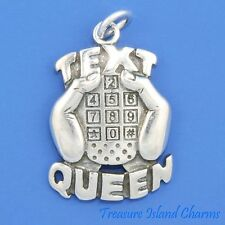 """""""TEXT QUEEN"""" THUMBS TEXTING MESSAGE 925 Sterling Silver Charm Pendant CELL PHONE"""