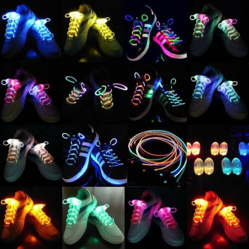 LED Flash Luminous Light Up Glow Strap Shoelace Shoe Laces Party Disco Props AE