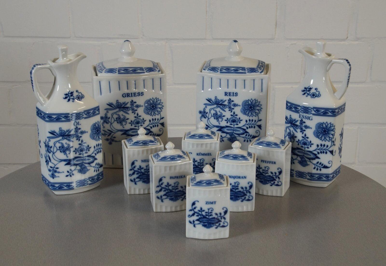 Noble Epiag porcelana especia menage vinagre petróleo hierbas arroz Gries vintage 60er J.