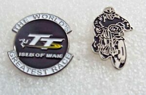 Set-of-2-World-Greatest-Race-TT-Isle-of-Man-Enamel-Pin-Badges-Classic-racer