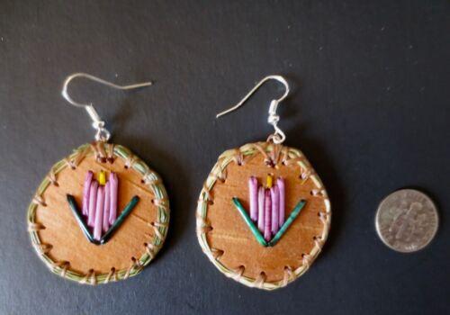 Flower earrings porcupine quill on birch bark: Paul St John Lavender Mohawk