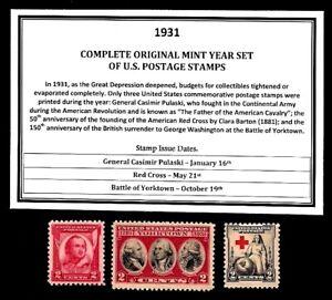 1931-COMPLETE-YEAR-SET-OF-MINT-MNH-VINTAGE-U-S-POSTAGE-STAMPS