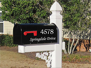 Mailbox Monogram and Letters Decal 2 Piece Set Number and Street Name Custom