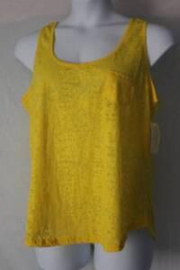 NEW-Womens-Tank-Top-Plus-Size-1X-Yellow-Semi-Transparent-Cut-Out-Back-Shirt