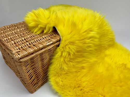 Alfombra de Piel de Oveja Amarillo sheeprug fur cuero 100/% Natural De Oveja británico