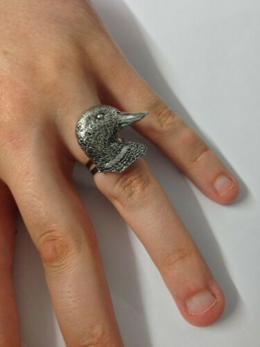 B28 Ducks Head English Pewter Ladies Ring Adjustable Handmade in Sheffield