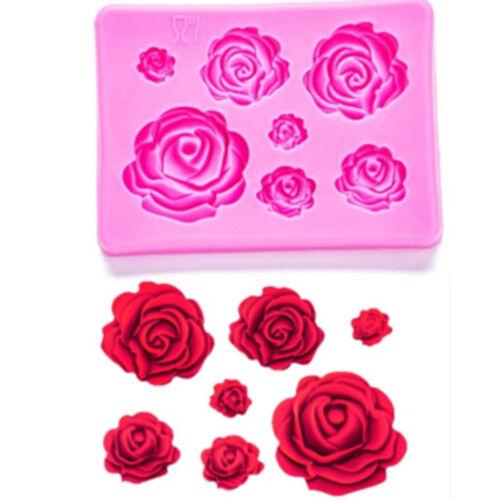 Mixed Size 3D Roses Silicone Mould DIY Fondant Chocolate Cake Decor Baking Mold