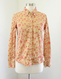 a4399c81 Image is loading Odille-Anthropologie-Gingham-Floral-Embroidered-Eyelet- Button-Down-