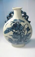 Chinese blue and white porcelain handwork painting lotus flowers and two swans