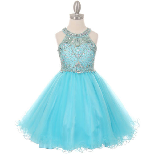 AQUA Flower Girl Dress Graduation Formal Party Wedding Bridesmaid Pageant Prom