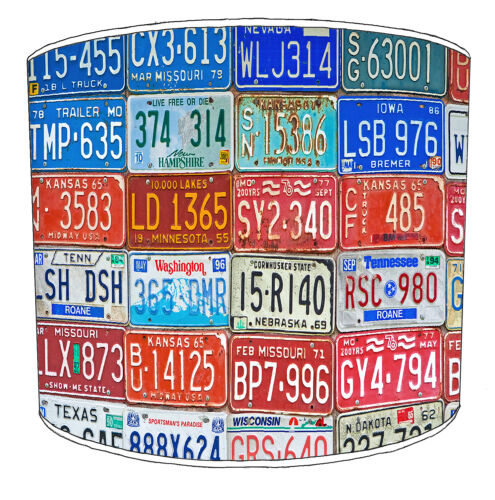 Lampshades Ideal To Match Vintage Retro Car Truck Number /& Registration Plates.
