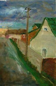 Russischer-Realist-Expressionist-Ol-Leinwand-034-Dorf-034-60x38-cm