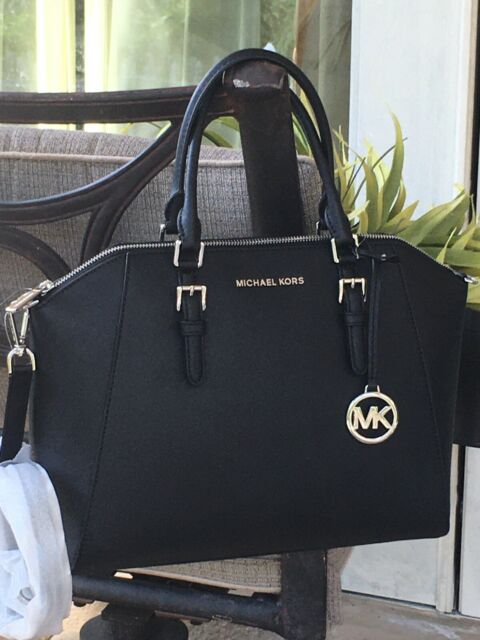 MICHAEL KORS CIARA LARGE TOP ZIP SATCHEL SHOULDER BAG MK BLACK LEATHER $428