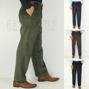 Mens-Corduroy-Cord-Trousers-Formal-Belted-Pants-Smart-Casual-Cotton-Trousers
