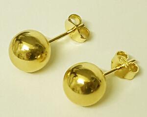 Damen-Kugel-Ohrstecker-Ohrringe-585-Gold-14-Kt-Gelbgold-2-2-mm-bis-12-mm-Durchm