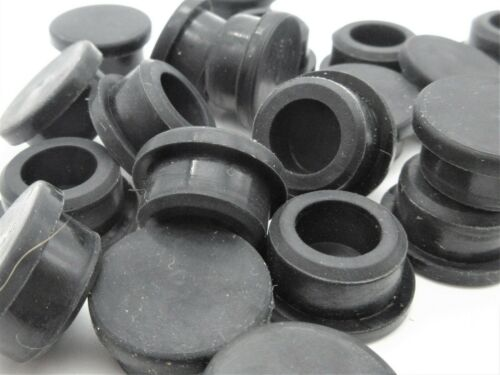 "3//8"" Rubber Hole Plugs Black Thick Panel Plug Compression Push-In Stem Bumper"