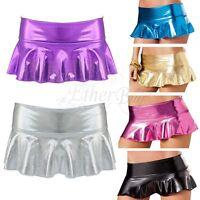 Women Sexy Shiny Metallic Wet Look Latex Skater Flared Short Pleated Mini Skirt