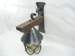 Applique lampada in legno e ferro battuto da parete ebay