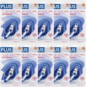 "10 of PLUS Glue Tape Adhesive Permanent Refill Cartridge 1/3"" x 72' TG-611BC"