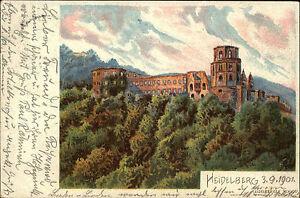 Heidelberg Rhein Neckar Kreis AK 1901 Heidelberger Schloss AK nach Breslau gel.
