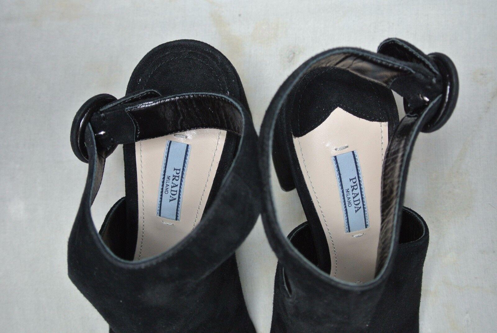 NEW NEW NEW w o Box Prada Cutout Suede Peep Toe Platform Sandals- Black US 9.5  890 68fa4c