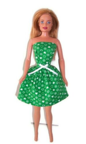 Doll Clothes-Green Heart Print Strapless Party Dress