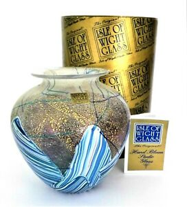 Glass Art Glass Self-Conscious A Isle Of Wight Studio Glass 'amphora' Vase With Box