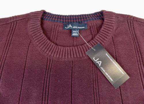 NWT JA John Ashford Ribbed Crewneck Long Sleeve Pullover Sweater $60 4 Colors